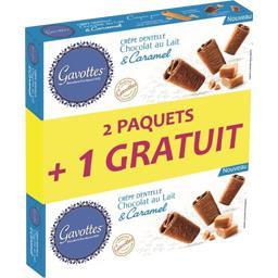Gavottes Crêpes dentelle chocolat au lait & caramel les 2 paquets de 90 g