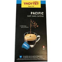 Cafés trottet Capsules de café pacifia sans caféine La boîte de 10 capsules