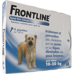 Anti puces tiques et poux Spot On pour chiens 10-20 ...