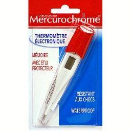 Mercurochrome Thermomètre électronique, mémoire, avec étui protect...