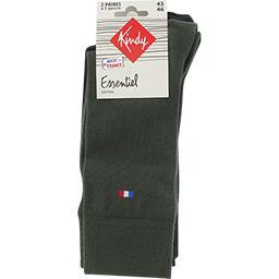 Chaussettes Essentiel coton 43-46 kaki/noir