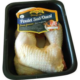 Blason d'Or Cuisse de poulet fermier Sud Ouest Label Rouge la barquette de 1 kg