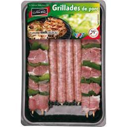 Plateau barbecue porc avec brochettes