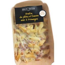 Gratin de pâtes et bacon aux 3 fromages