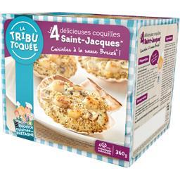 La Tribu Toquée Coquilles Saint-Jacques cuisinées à la sauce Breizh les 4 coquilles de 90 g