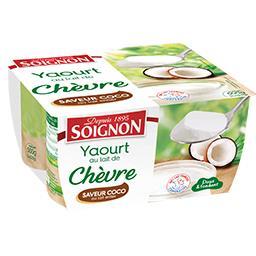 Soignon Yaourt au lait de chèvre saveur coco les 4 pots de 125 g