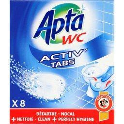 WC - Tablette WC Activ' Tabs détartre nettoie, les 8 tablettes de 20 g,APTA,les 8 tablettes de 20 g