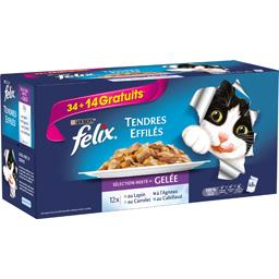 Tendres Effilés sélection mixte en gelée pour chat