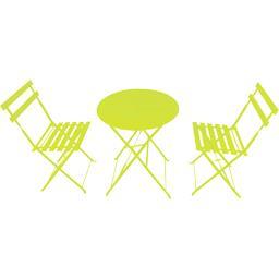 Set bistrot : 1 table et 2 chaises coloris vert anis