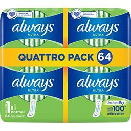 Always serviettes hygiéniques ultra normal (t1) Le paquet de 64 serviettes