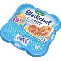 Blédichef - Cocotte de légumes, pâtes et saumon, dès...