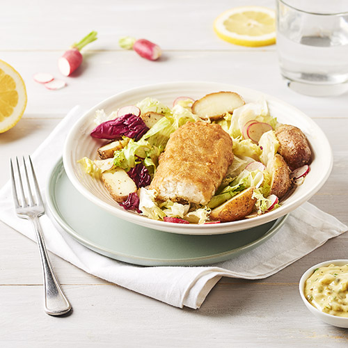 Salade tiède Colin d'Alaska façon Fish and Chips