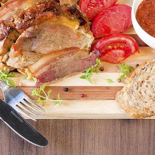 Rôti de porc au bacon et fromage fondu