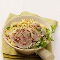 Emincé de tête de veau en salade, pommes de terre et oignons rouges