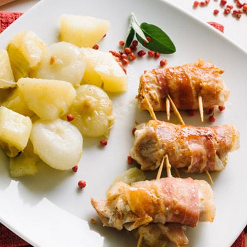Involtini au poulet, fromage et bacon