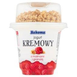 Jogurt kremowy z malinami i granolą