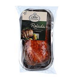 Rolada z fileta z gęsi faszerowana nadzieniem mięsno-podrobowym