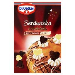 Serduszka z czekolady deserowej i białej  (72 sztuki)