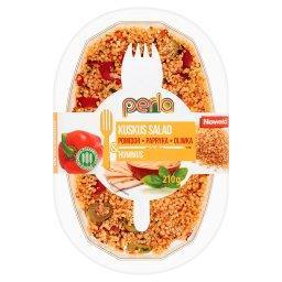 Sałatka z kaszy kuskus pomidor papryka oliwka & hummus
