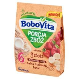 Porcja Zbóż Kaszka mleczna 3 zboża malina-truskawka-banan po 6 miesiącu