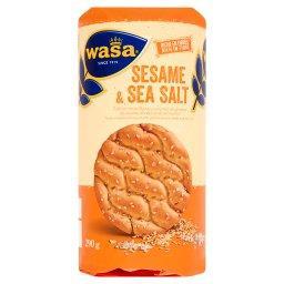 Okrągłe pszenne pieczywo chrupkie z sezamem i solą morską