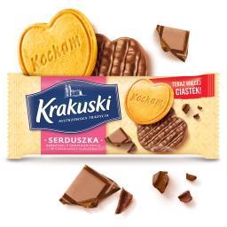 Serduszka Herbatniki z dodatkiem masła w czekoladzie...