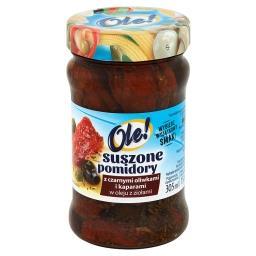 Suszone pomidory z czarnymi oliwkami i kaparami w oleju z ziołami