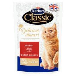 Classic Delicious Dinners Karma dla dorosłych kotów kawałki w sosie z wołowiną