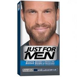 Coloração de bigode, barba e patilhas castanho claro