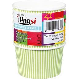 Taças de papel riscas verdes 20 cl