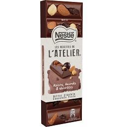 Tablete de chocolate l'ateliere passas, avelã e amên...