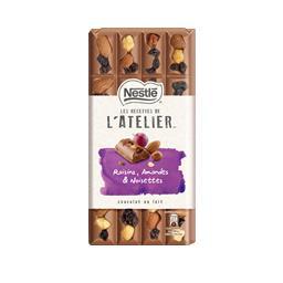 Chocolate L'Atelier com passas, amêndoas e avelãs