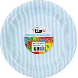 Pratos de papel riscas azuis 23 cm