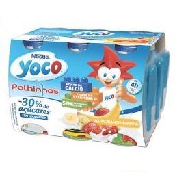Iogurte líquido yoco de morango e banana