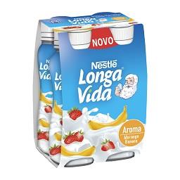 Iogurte líquido longa vida morango e banana