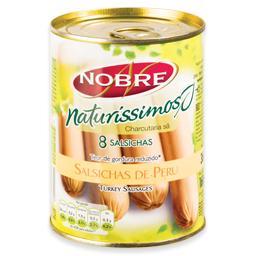Salsichas de peru ao natural, em lata