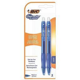 2 esferográficas gel-ocity original com grip azuis