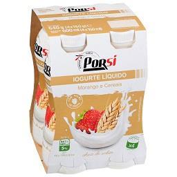 Iogurte líquido, drink, morango/ cereais