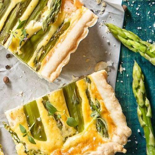 Tarte de espargos, salmão e queijo creme